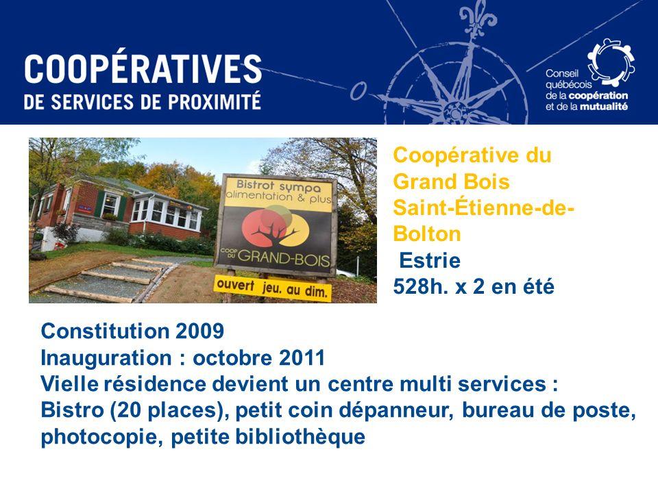 Coopérative du Grand Bois Saint-Étienne-de- Bolton Estrie 528h. x 2 en été Constitution 2009 Inauguration : octobre 2011 Vielle résidence devient un c