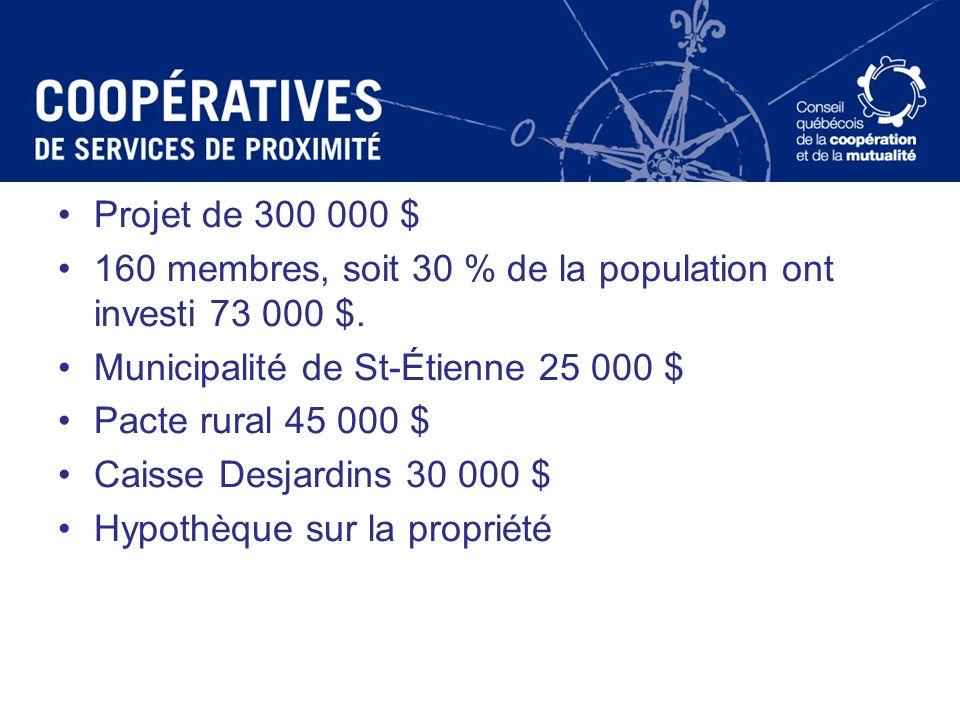 Projet de 300 000 $ 160 membres, soit 30 % de la population ont investi 73 000 $. Municipalité de St-Étienne 25 000 $ Pacte rural 45 000 $ Caisse Desj