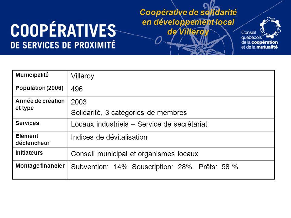 Coopérative de solidarité en développement local de Villeroy Municipalité Villeroy Population (2006) 496 Année de création et type 2003 Solidarité, 3