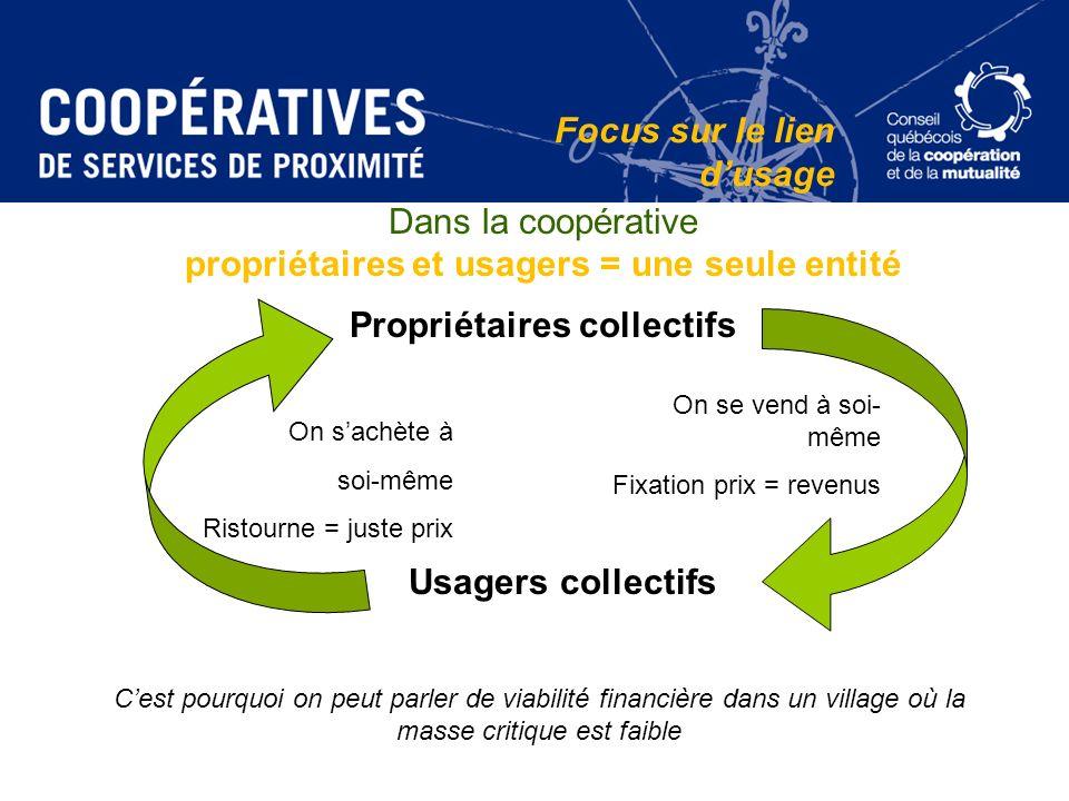 Dans la coopérative propriétaires et usagers = une seule entité Propriétaires collectifs Usagers collectifs On se vend à soi- même Fixation prix = rev