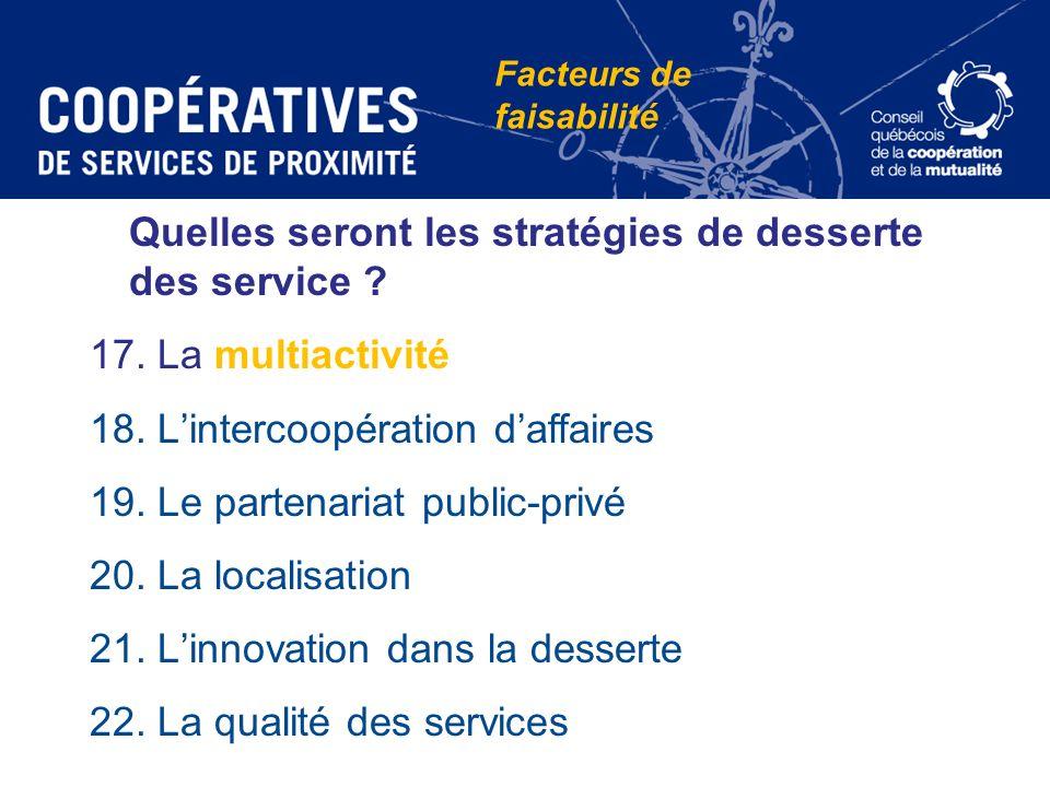 Quelles seront les stratégies de desserte des service ? 17. La multiactivité 18. Lintercoopération daffaires 19. Le partenariat public-privé 20. La lo