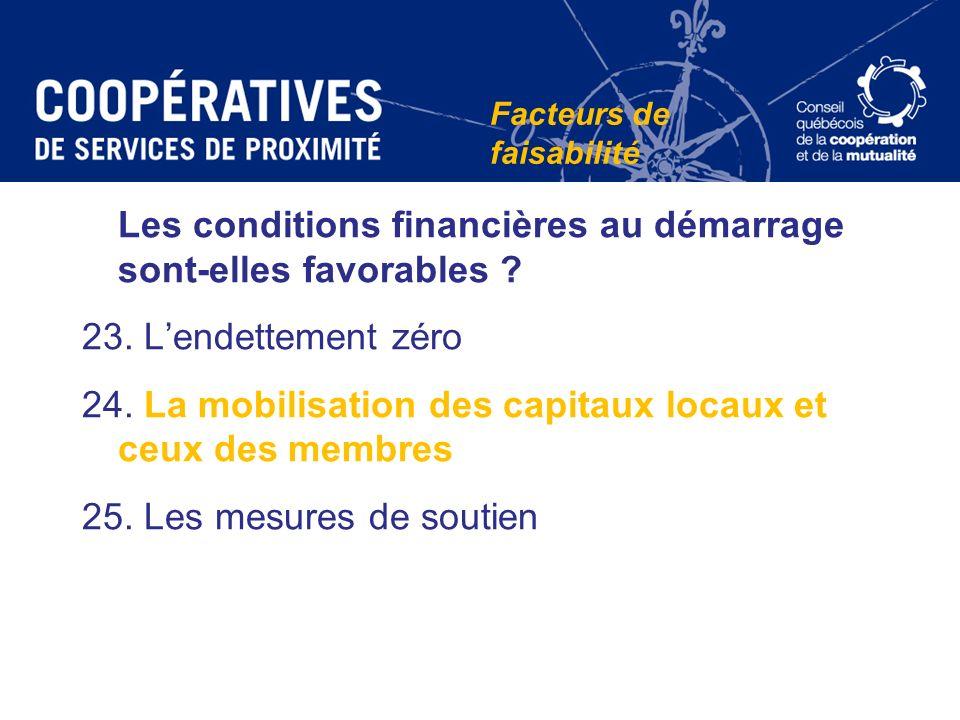 Les conditions financières au démarrage sont-elles favorables ? 23. Lendettement zéro 24. La mobilisation des capitaux locaux et ceux des membres 25.