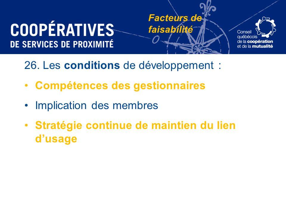 26. Les conditions de développement : Compétences des gestionnaires Implication des membres Stratégie continue de maintien du lien dusage Facteurs de