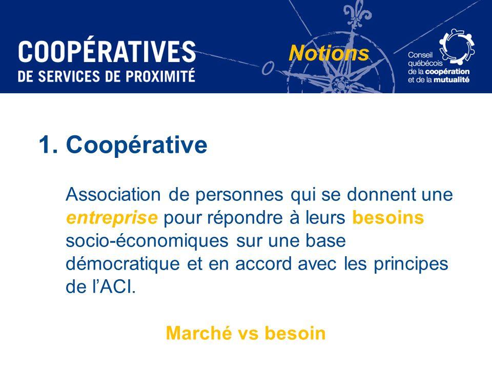 1.Coopérative Association de personnes qui se donnent une entreprise pour répondre à leurs besoins socio-économiques sur une base démocratique et en a