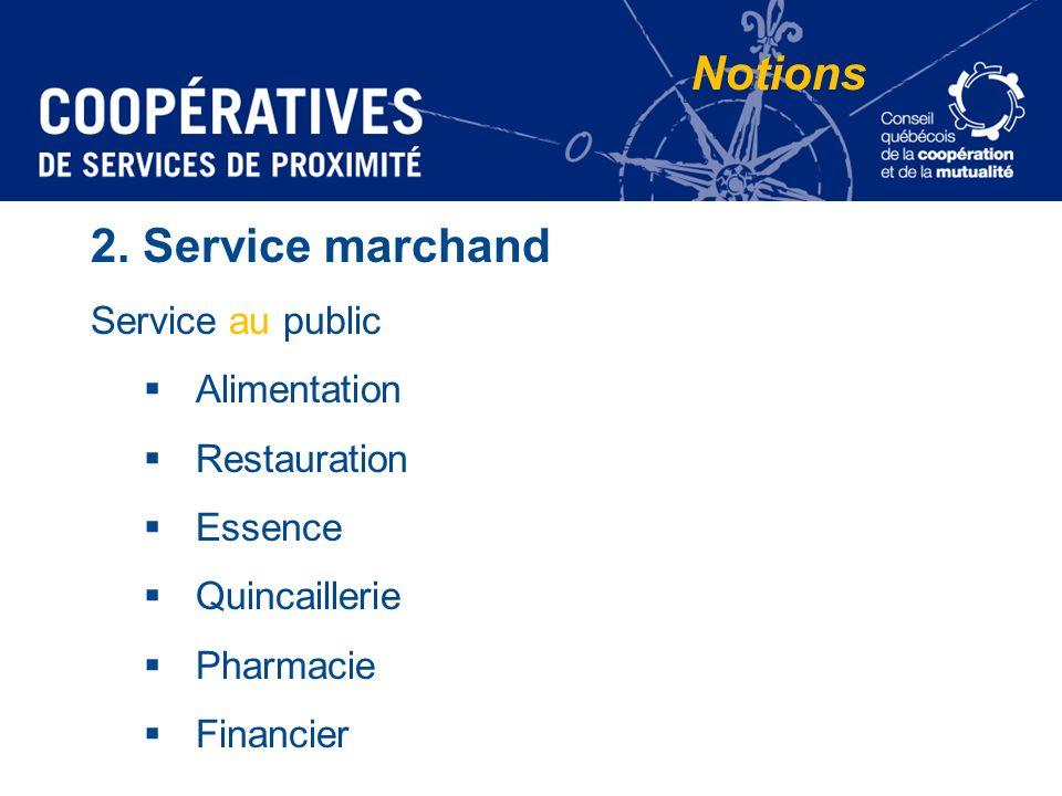 2. Service marchand Service au public Alimentation Restauration Essence Quincaillerie Pharmacie Financier Notions