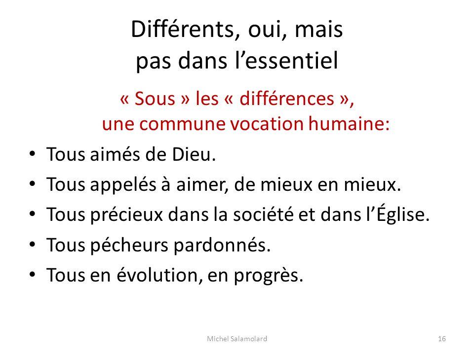 Différents, oui, mais pas dans lessentiel « Sous » les « différences », une commune vocation humaine: Tous aimés de Dieu. Tous appelés à aimer, de mie