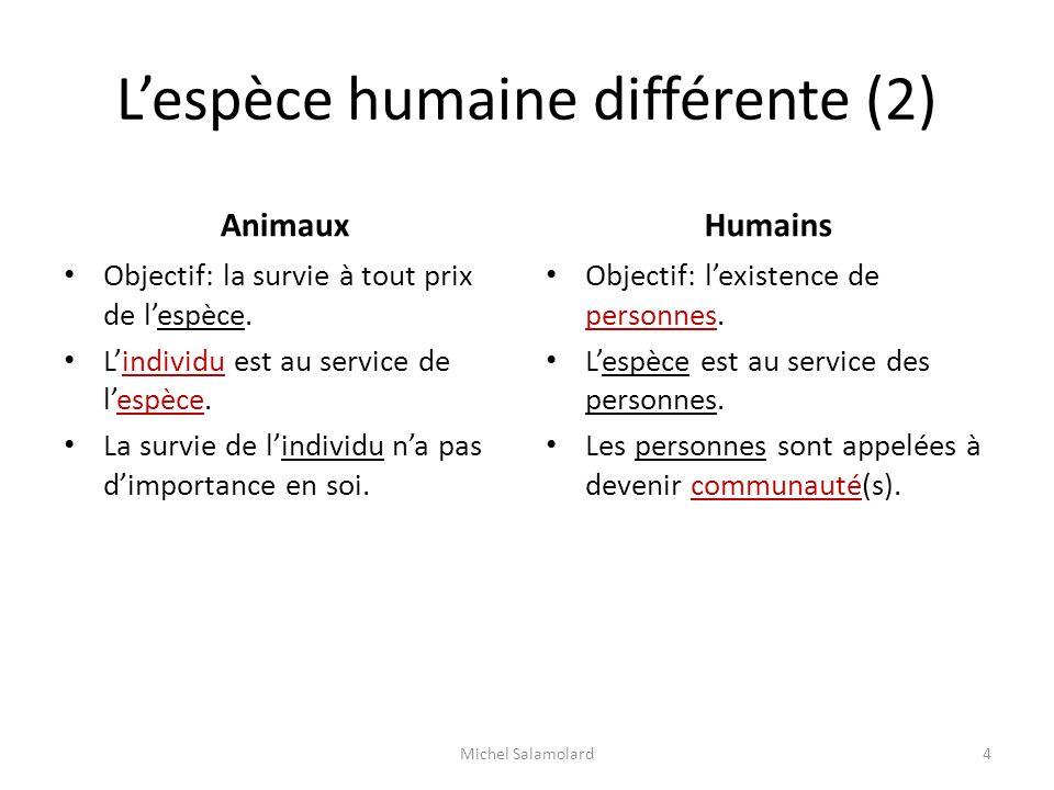 Lespèce humaine différente (2) Animaux Objectif: la survie à tout prix de lespèce. Lindividu est au service de lespèce. La survie de lindividu na pas