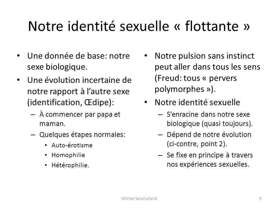 Notre identité sexuelle « flottante » Une donnée de base: notre sexe biologique. Une évolution incertaine de notre rapport à lautre sexe (identificati