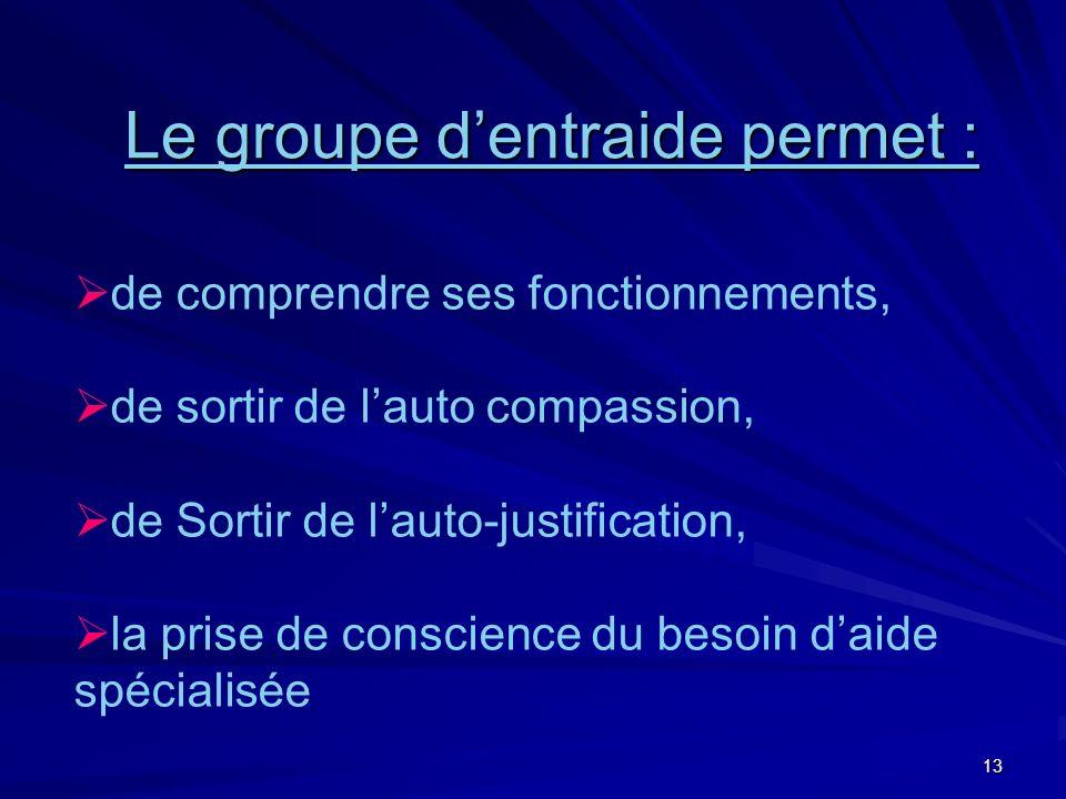 13 de comprendre ses fonctionnements, de sortir de lauto compassion, de Sortir de lauto-justification, la prise de conscience du besoin daide spécialisée Le groupe dentraide permet :