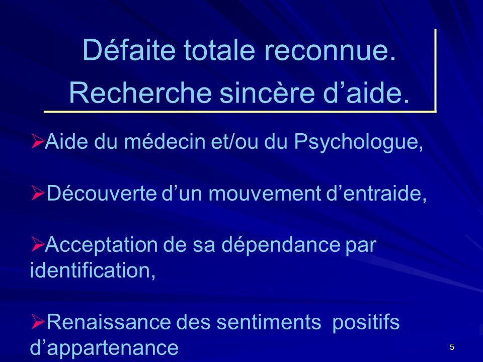 5 Aide du médecin et/ou du Psychologue, Découverte dun mouvement dentraide, Acceptation de sa dépendance par identification, Renaissance des sentiments positifs dappartenance Défaite totale reconnue.