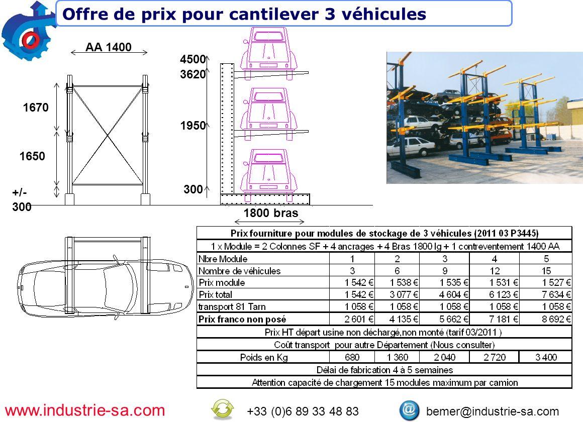 www.industrie-sa.com +33 (0)6 89 33 48 83 bemer@industrie-sa.com 300 1950 3620 4500 AA 1400 1800 bras 1670 1650 +/- 300 Offre de prix pour cantilever 3 véhicules