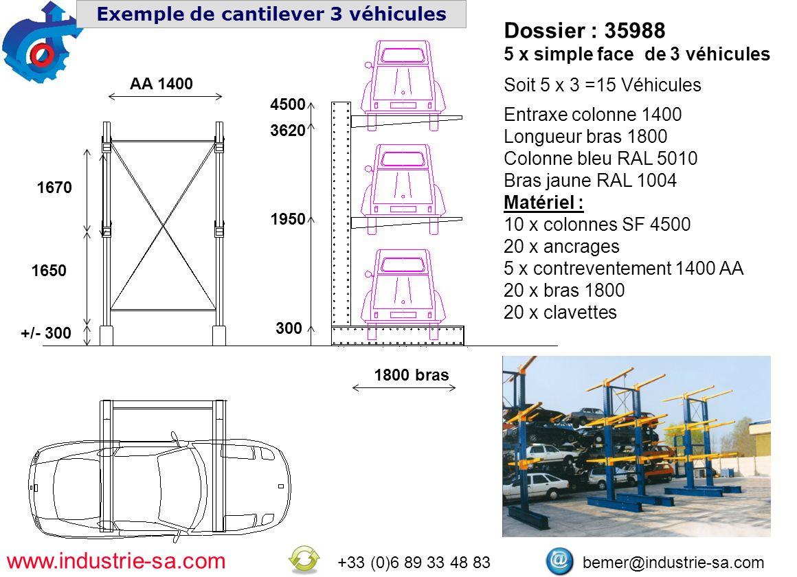 www.industrie-sa.com +33 (0)6 89 33 48 83 bemer@industrie-sa.com Exemple de cantilever 3 véhicules 300 1950 3620 4500 AA 1400 1800 bras 1670 1650 +/-