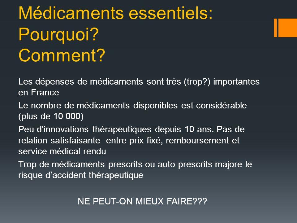 Médicaments essentiels: Pourquoi? Comment? Les dépenses de médicaments sont très (trop?) importantes en France Le nombre de médicaments disponibles es