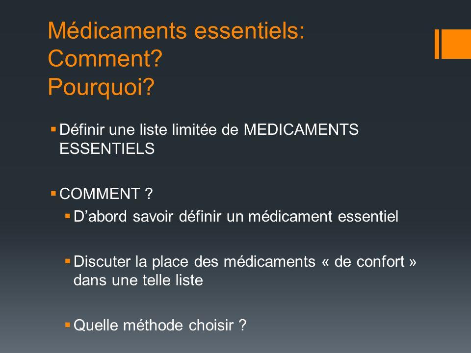 Médicaments essentiels: Comment? Pourquoi? Définir une liste limitée de MEDICAMENTS ESSENTIELS COMMENT ? Dabord savoir définir un médicament essentiel