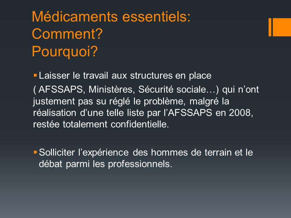Médicaments essentiels: Comment? Pourquoi? Laisser le travail aux structures en place ( AFSSAPS, Ministères, Sécurité sociale…) qui nont justement pas