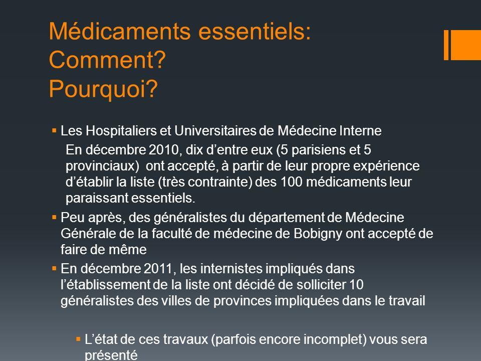 Médicaments essentiels: Comment? Pourquoi? Les Hospitaliers et Universitaires de Médecine Interne En décembre 2010, dix dentre eux (5 parisiens et 5 p