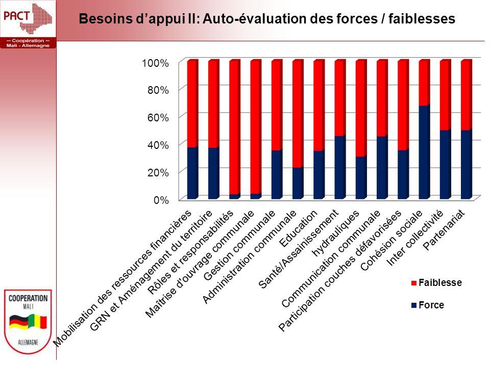 Besoins dappui II: Auto-évaluation des forces / faiblesses