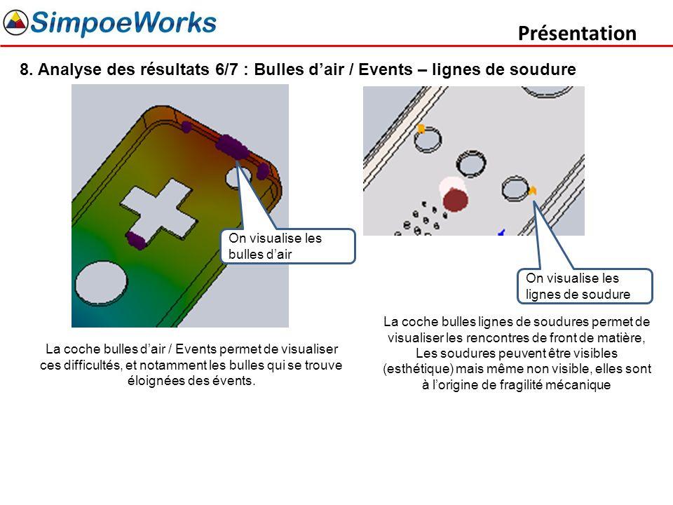 Présentation 8. Analyse des résultats 6/7 : Bulles dair / Events – lignes de soudure La coche bulles dair / Events permet de visualiser ces difficulté
