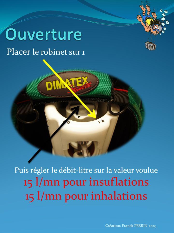 Placer le robinet sur 1 Création: Franck PERRIN 2013 Puis régler le débit-litre sur la valeur voulue 15 l/mn pour insuflations 15 l/mn pour inhalation