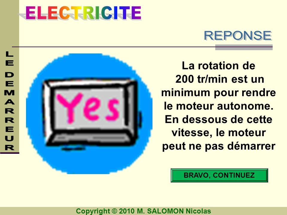 Copyright © 2010 M. SALOMON Nicolas BRAVO, CONTINUEZ La rotation de 200 tr/min est un minimum pour rendre le moteur autonome. En dessous de cette vite