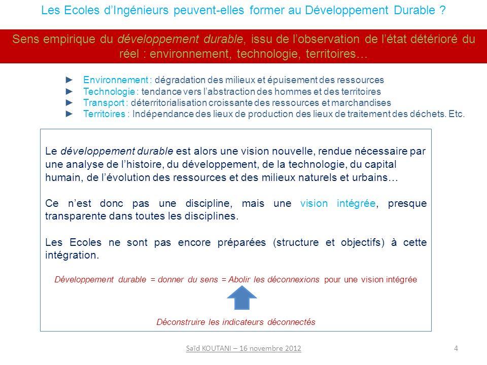 4Saïd KOUTANI – 16 novembre 2012 Les Ecoles dIngénieurs peuvent-elles former au Développement Durable .