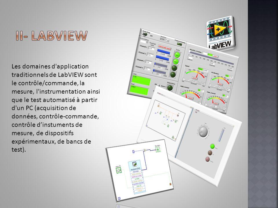 Les domaines d'application traditionnels de LabVIEW sont le contrôle/commande, la mesure, l'instrumentation ainsi que le test automatisé à partir d'un