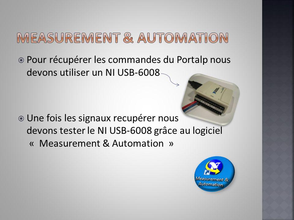 Pour récupérer les commandes du Portalp nous devons utiliser un NI USB-6008 Une fois les signaux recupérer nous devons tester le NI USB-6008 grâce au
