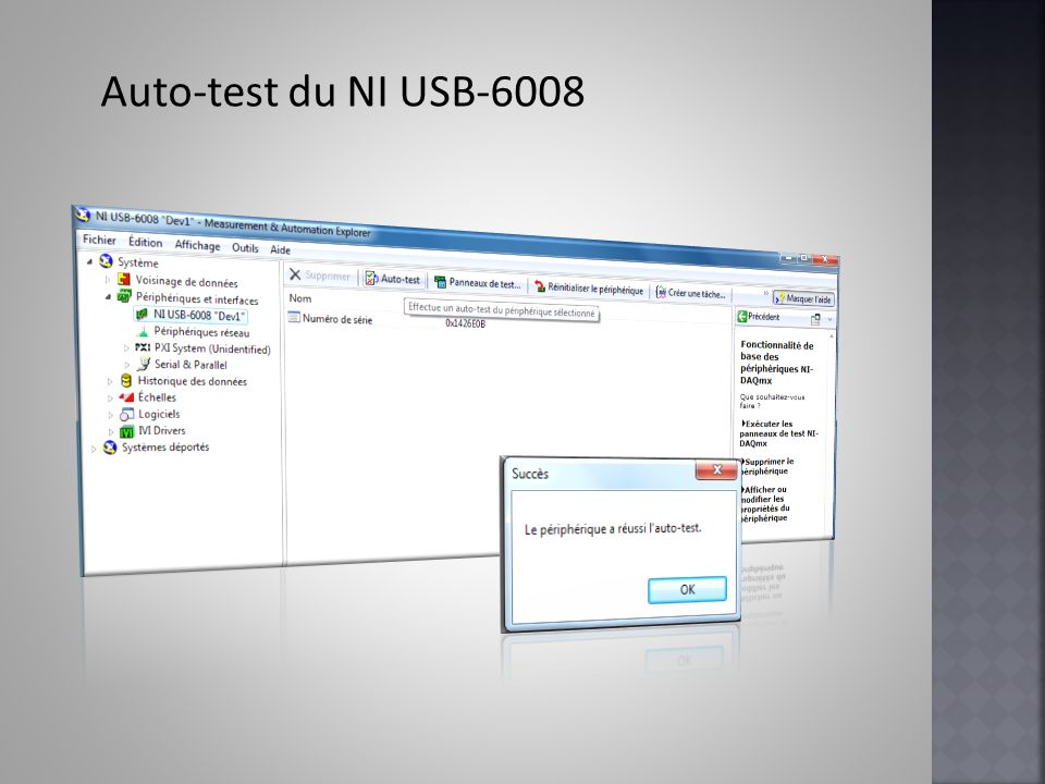 Auto-test du NI USB-6008