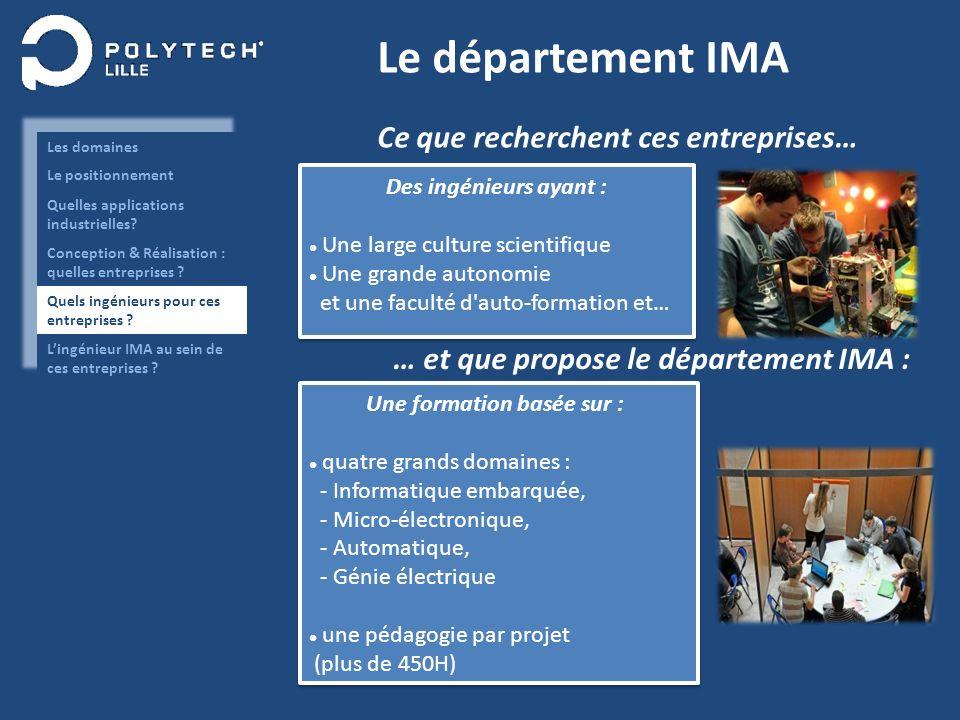 Le département IMA Des ingénieurs ayant : Une large culture scientifique Une grande autonomie et une faculté d'auto-formation et… Des ingénieurs ayant