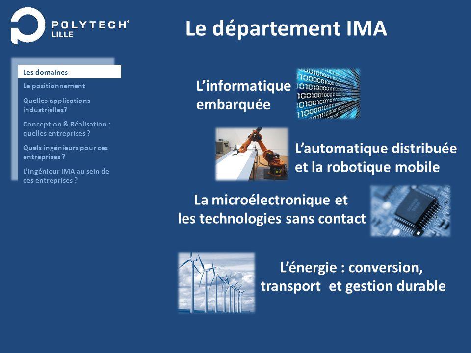 Le département IMA Linformatique embarquée Lautomatique distribuée et la robotique mobile La microélectronique et les technologies sans contact Lénerg