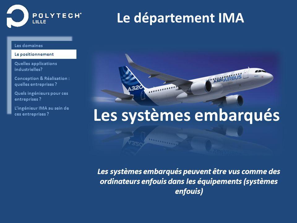 Le département IMA Les systèmes embarqués Les systèmes embarqués peuvent être vus comme des ordinateurs enfouis dans les équipements (systèmes enfouis)