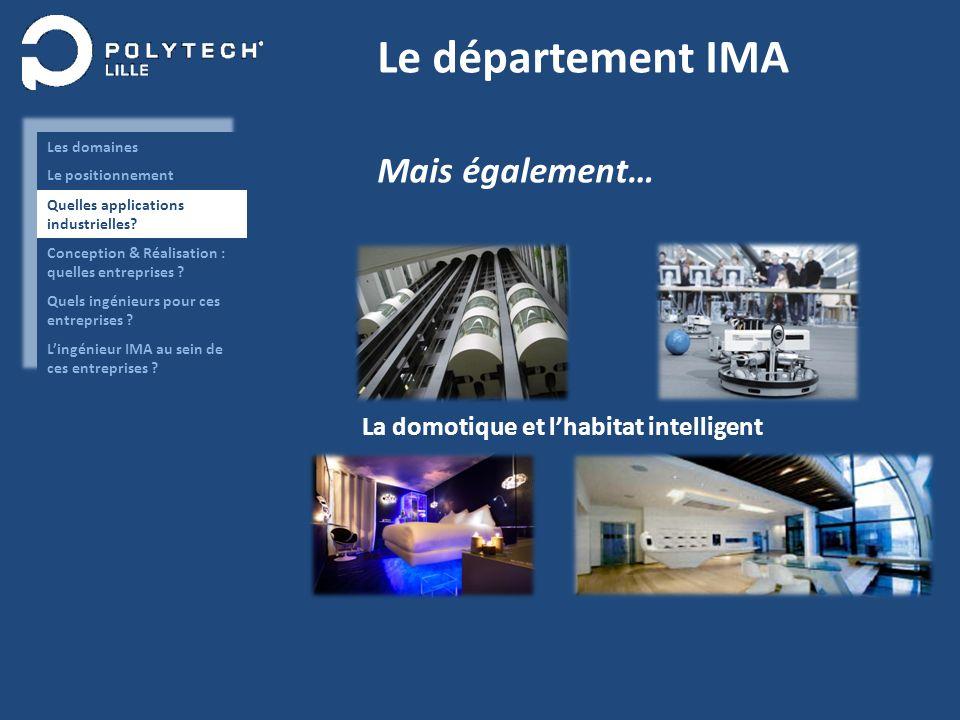 Le département IMA Mais également… La domotique et lhabitat intelligent