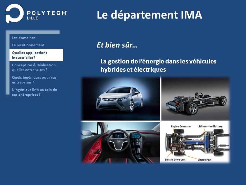 Le département IMA Et bien sûr… La gestion de lénergie dans les véhicules hybrides et électriques