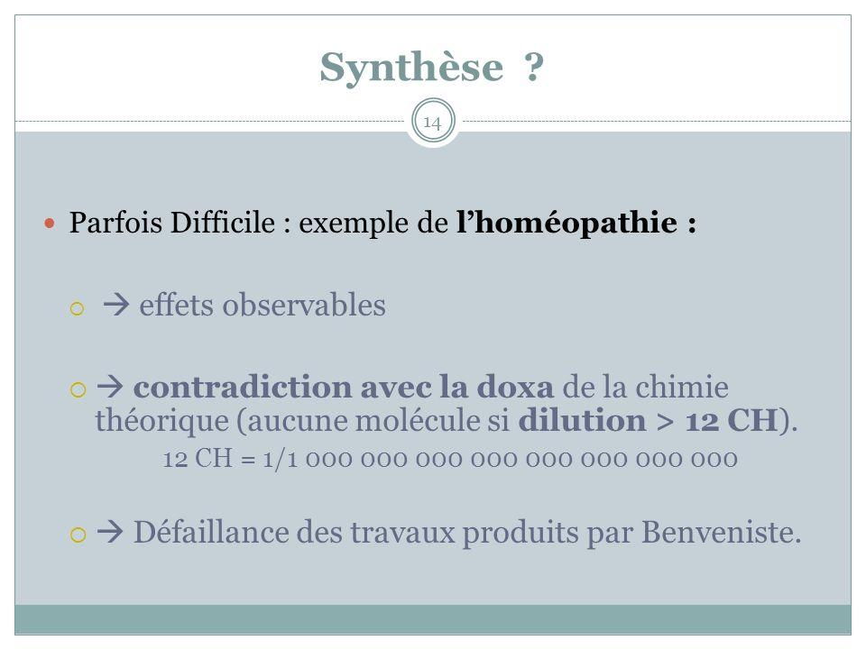 Synthèse ? Parfois Difficile : exemple de lhoméopathie : effets observables contradiction avec la doxa de la chimie théorique (aucune molécule si dilu
