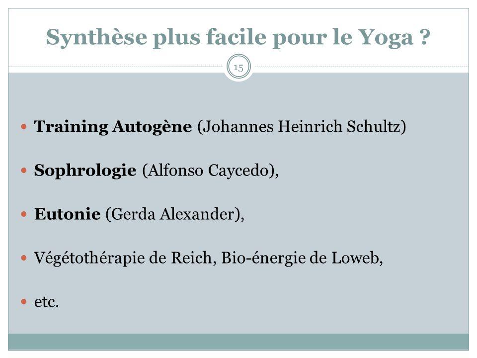 Synthèse plus facile pour le Yoga ? Training Autogène (Johannes Heinrich Schultz) Sophrologie (Alfonso Caycedo), Eutonie (Gerda Alexander), Végétothér