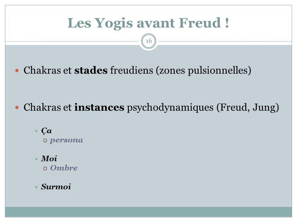 Les Yogis avant Freud ! Chakras et stades freudiens (zones pulsionnelles) Chakras et instances psychodynamiques (Freud, Jung) Ça persona Moi Ombre Sur