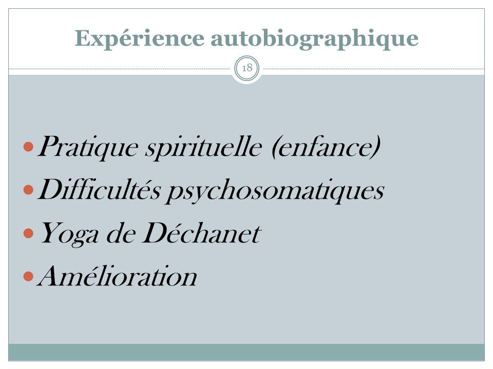 Expérience autobiographique Pratique spirituelle (enfance) Difficultés psychosomatiques Yoga de Déchanet Amélioration 18