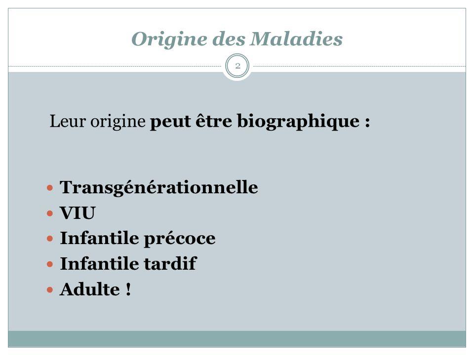 Origine des Maladies Transgénérationnelle VIU Infantile précoce Infantile tardif Adulte ! 2 Leur origine peut être biographique :