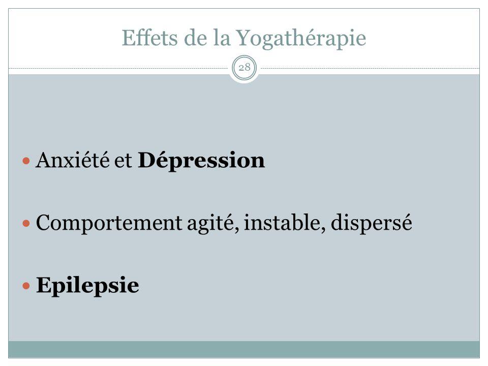 Effets de la Yogathérapie Anxiété et Dépression Comportement agité, instable, dispersé Epilepsie 28