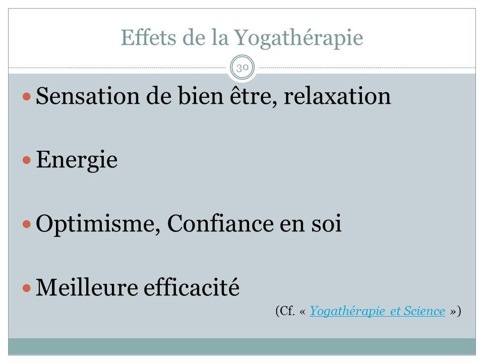 Effets de la Yogathérapie Sensation de bien être, relaxation Energie Optimisme, Confiance en soi Meilleure efficacité (Cf. « Yogathérapie et Science »