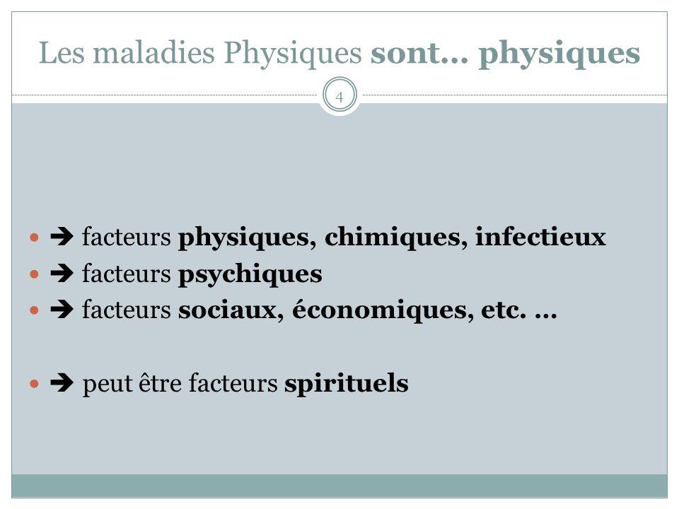 Les maladies Physiques sont... physiques facteurs physiques, chimiques, infectieux facteurs psychiques facteurs sociaux, économiques, etc. … peut être