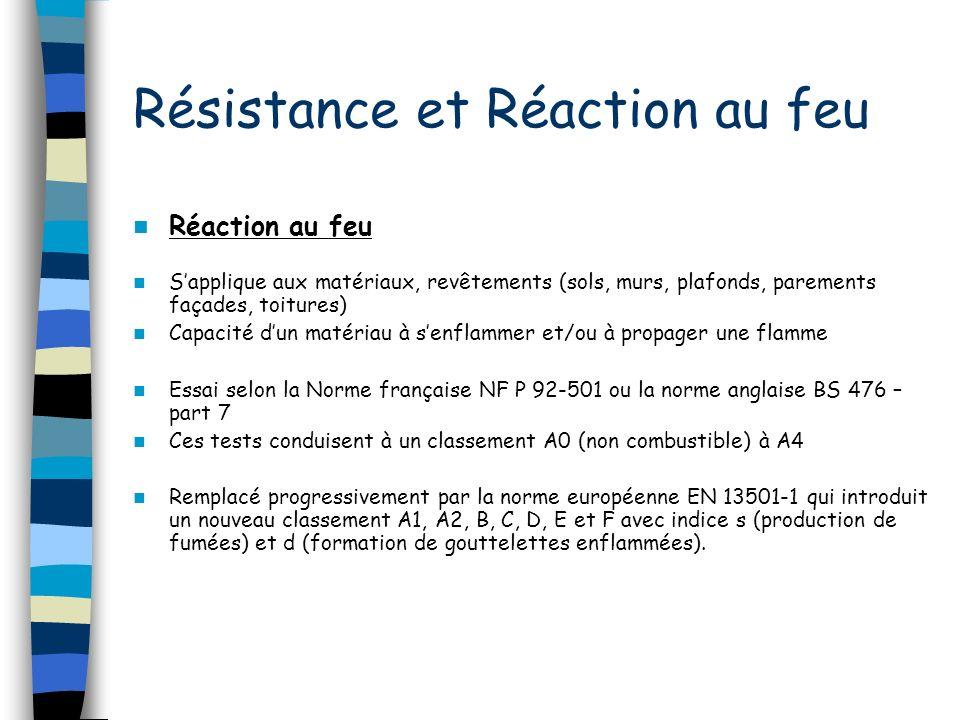 Résistance et Réaction au feu Réaction au feu Sapplique aux matériaux, revêtements (sols, murs, plafonds, parements façades, toitures) Capacité dun matériau à senflammer et/ou à propager une flamme Essai selon la Norme française NF P 92-501 ou la norme anglaise BS 476 – part 7 Ces tests conduisent à un classement A0 (non combustible) à A4 Remplacé progressivement par la norme européenne EN 13501-1 qui introduit un nouveau classement A1, A2, B, C, D, E et F avec indice s (production de fumées) et d (formation de gouttelettes enflammées).