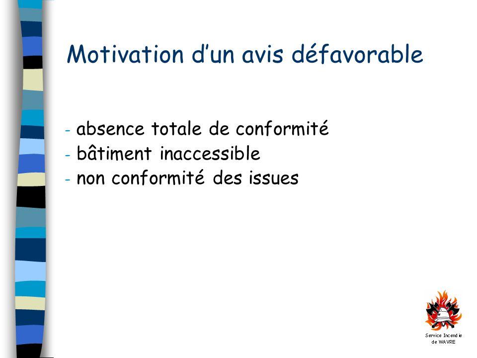 Motivation dun avis défavorable - absence totale de conformité - bâtiment inaccessible - non conformité des issues