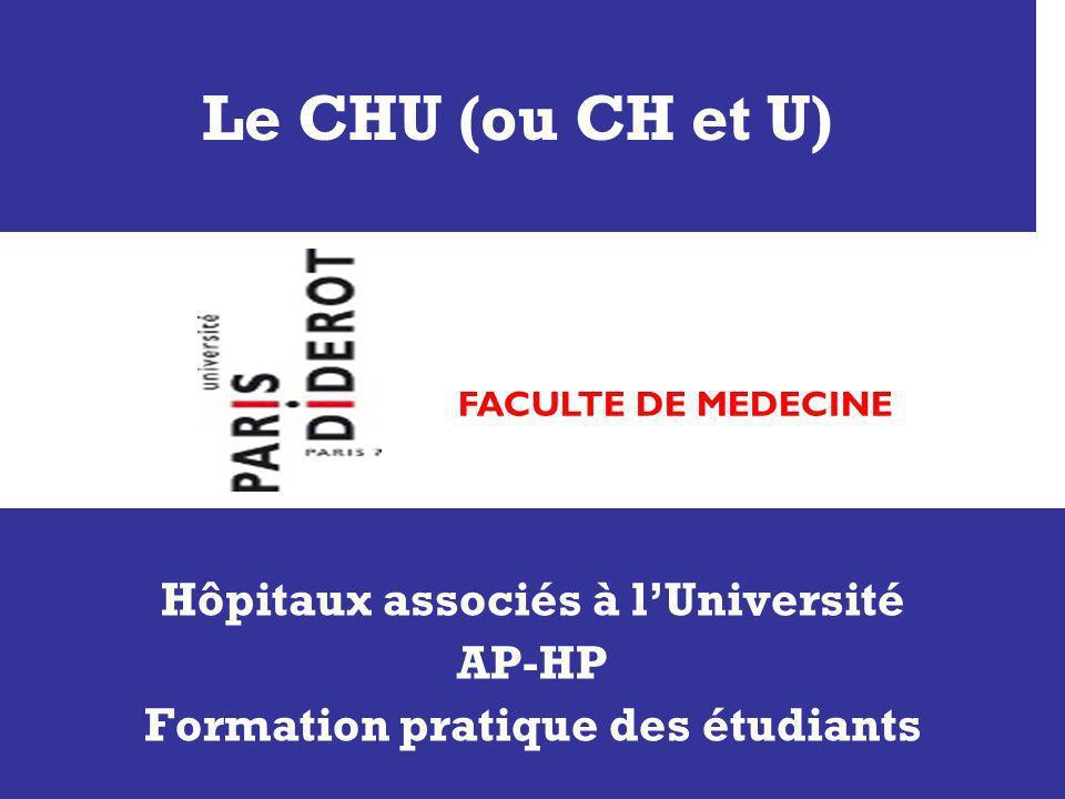 Le CHU (ou CH et U) Hôpitaux associés à lUniversité AP-HP Formation pratique des étudiants FACULTE DE MEDECINE