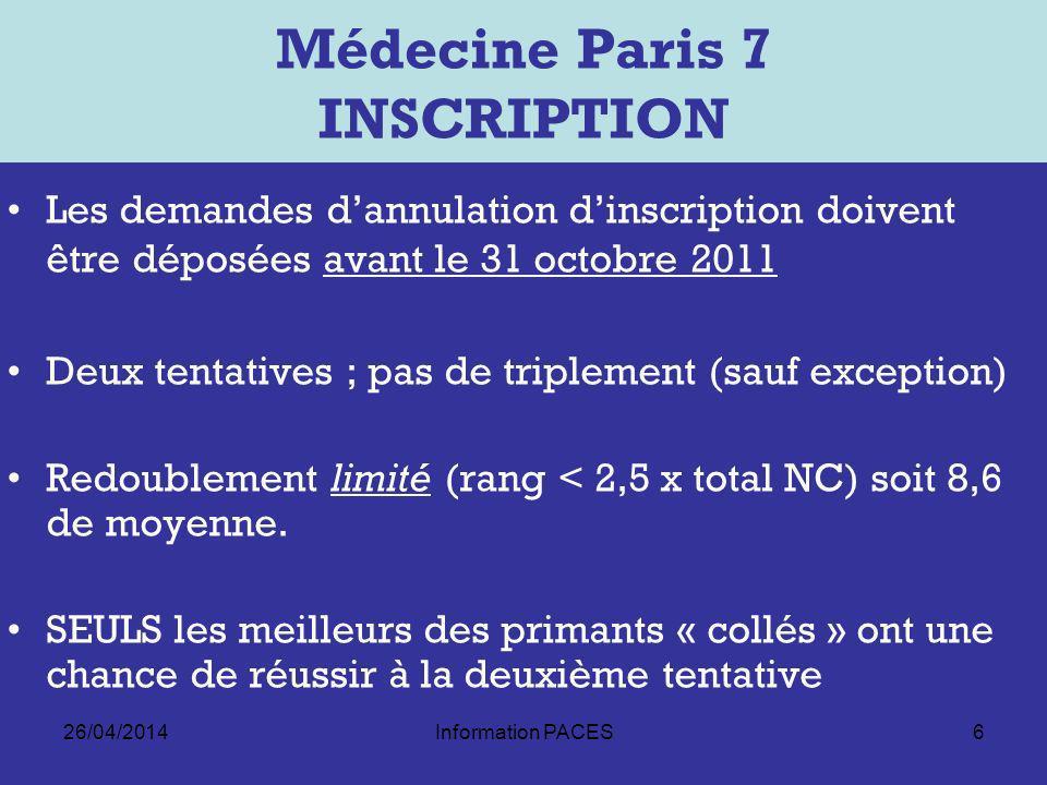 26/04/2014Information PACES6 Médecine Paris 7 INSCRIPTION Les demandes dannulation dinscription doivent être déposées avant le 31 octobre 2011 Deux tentatives ; pas de triplement (sauf exception) Redoublement limité (rang < 2,5 x total NC) soit 8,6 de moyenne.