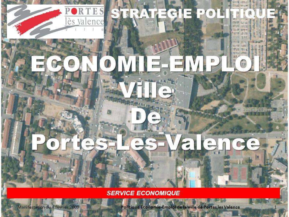 SERVICE ECONOMIQUE STRATEGIE POLITIQUE Manifestation du 4 février 2009 1Politique Economie-Emploi de la Ville de Portes les Valence ECONOMIE-EMPLOI Ville De Portes-Les-Valence