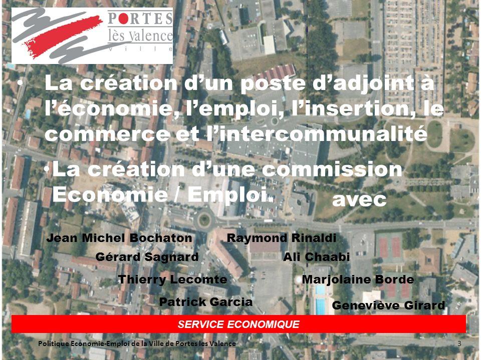SERVICE ECONOMIQUE La création dun poste dadjoint à léconomie, lemploi, linsertion, le commerce et lintercommunalité La création dune commission Economie / Emploi.
