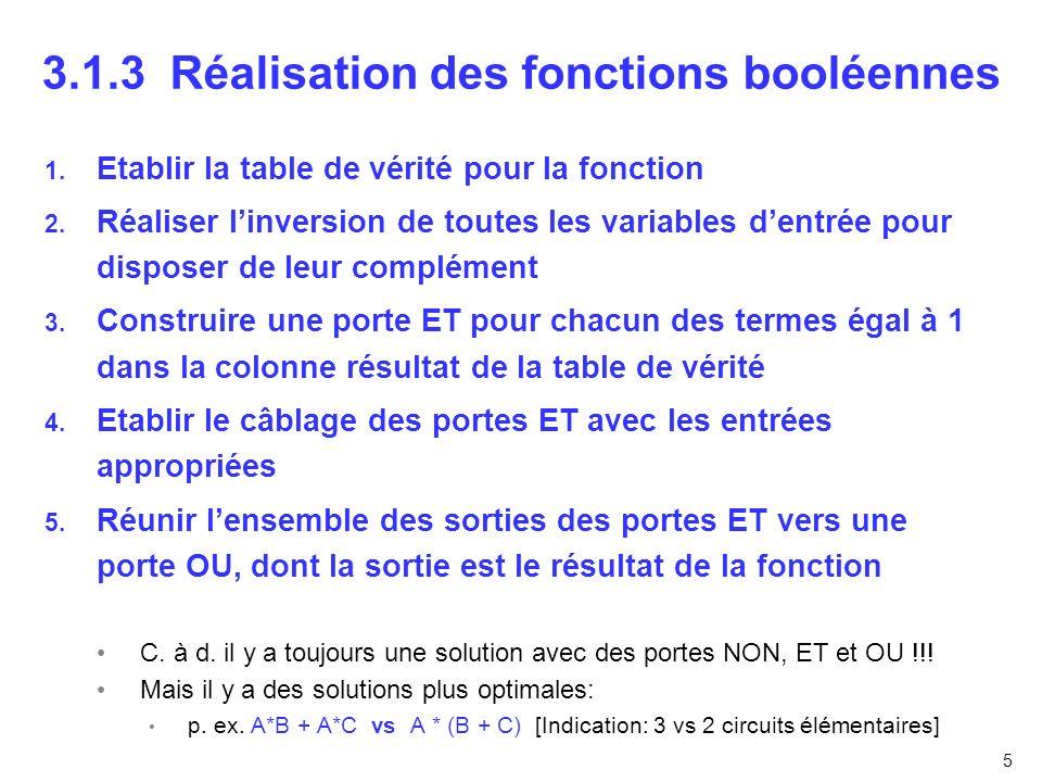 5 3.1.3 Réalisation des fonctions booléennes 1. Etablir la table de vérité pour la fonction 2. Réaliser linversion de toutes les variables dentrée pou