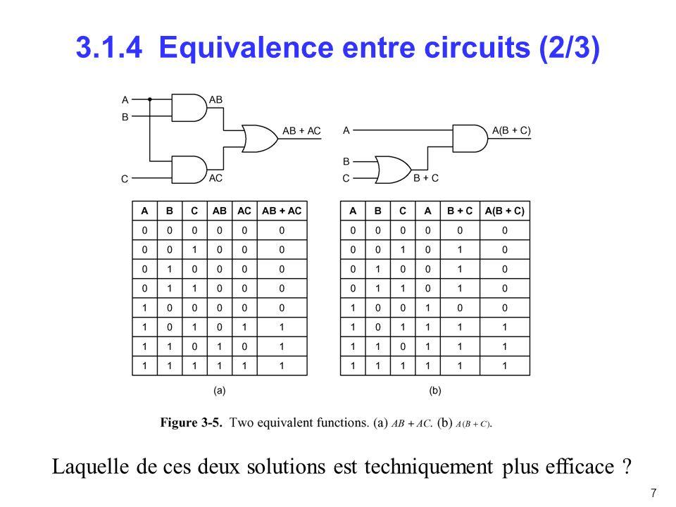 8 3.1.4 Equivalence entre circuits (3/3)