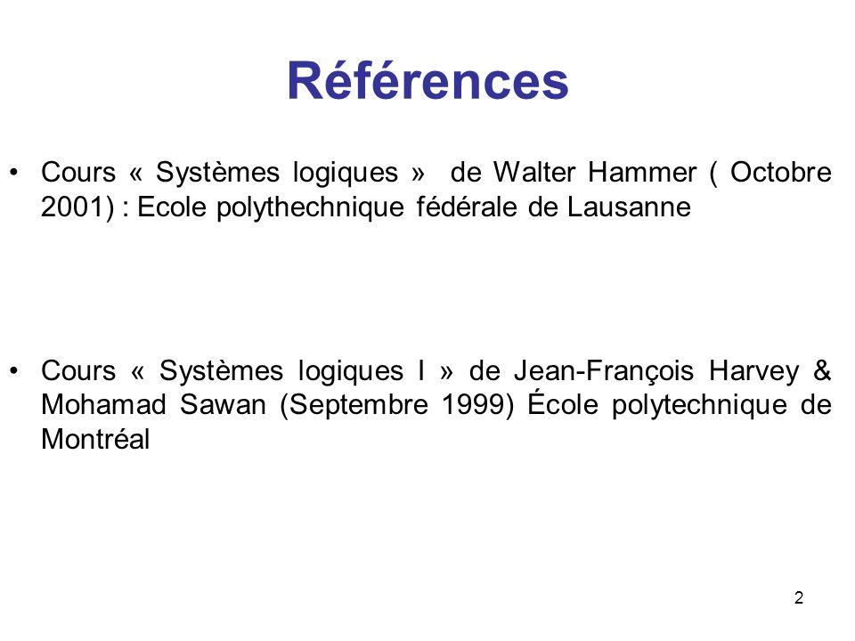 2 Références Cours « Systèmes logiques » de Walter Hammer ( Octobre 2001) : Ecole polythechnique fédérale de Lausanne Cours « Systèmes logiques I » de